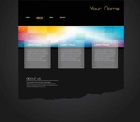website buttons: Website template with colorful banner.