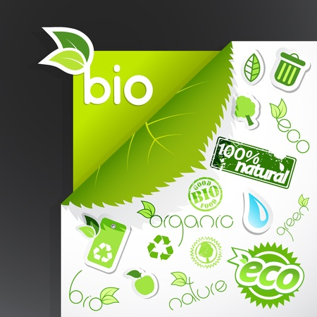 Set of green ecology icons. Vector
