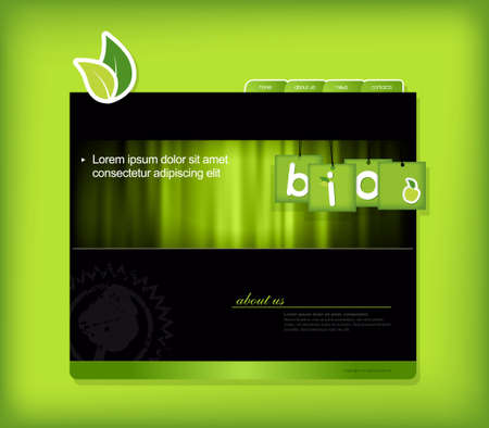 Website template with bio sign.  Vector