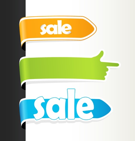 Set of colored sale tags. Vector