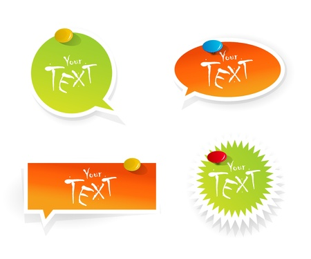 Set of orange-green stickers. Stock Vector - 9185284