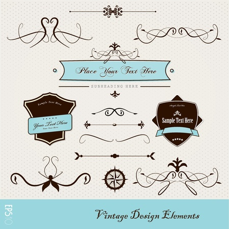 border line: Set of vintage design elements.
