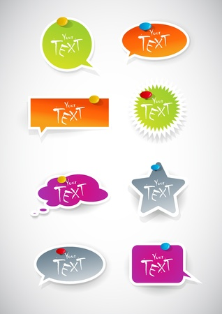Set of colored stickers. Vector