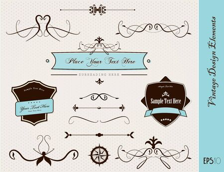 Set of vintage design elements. Stock Vector - 9635063