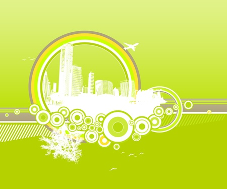 City and nature with circles on green background. Stock Vector - 9632466