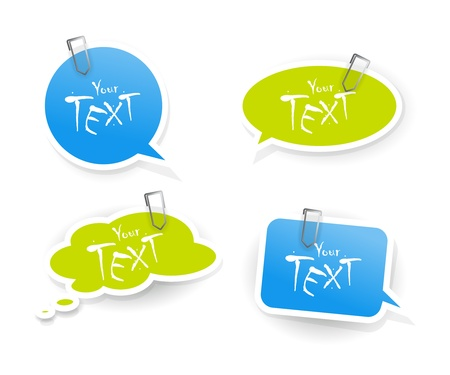 Set of blue green stickers. Stock Vector - 9632451