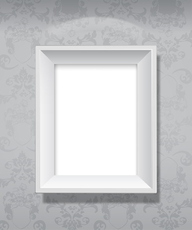 photo realistic: Empty grey picture frame hanging on wall.