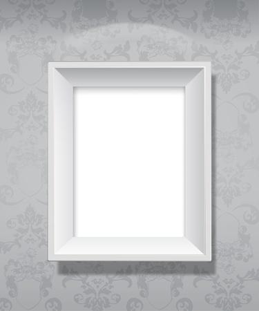 Marco de imagen gris vacío colgado en la pared. Foto de archivo - 9634136