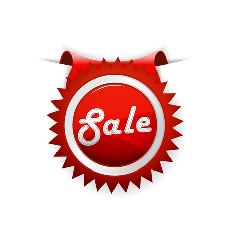 discount banner: Red sale badge. Vector art