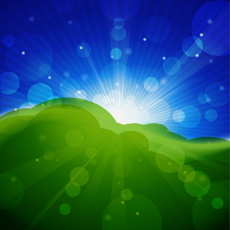 Meadow with sun and blue sky.  Stock Vector - 9829450