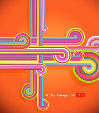 Abstract lines with orange background.  Vector