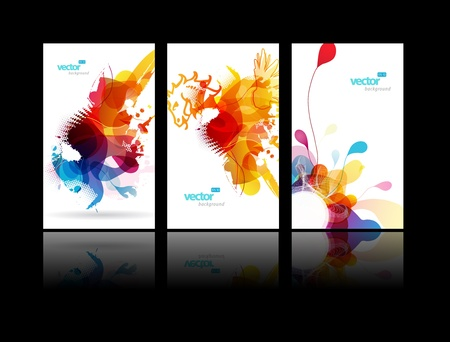 grunge shape: Set of abstract colorful splash illustrations. Illustration