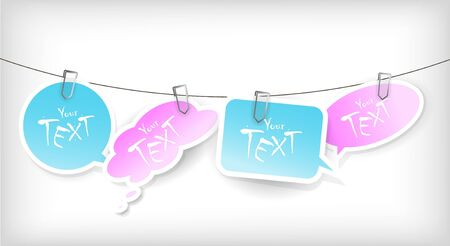 Set of blue and pink stickers. Vector