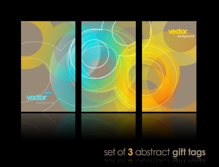 Set of gift cards with circles. Illustration