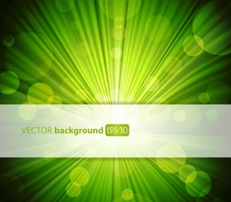 raggi di luce: Abstract sfondo verde con posto per il testo. Vettoriali