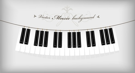 Hanging piano keyboard with place for your text. Vector