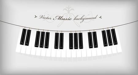 Teclado del piano colgantes con lugar para el texto. Ilustración de vector