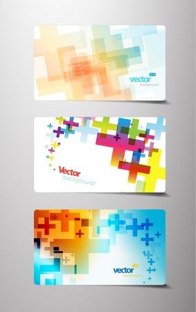 red and yellow card: Conjunto de resumen colorida Cruz variaciones.