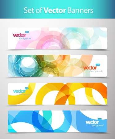 red and yellow card: Set of abstract colorful web headers.