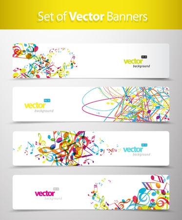 music banner: Set of abstract colorful web headers.