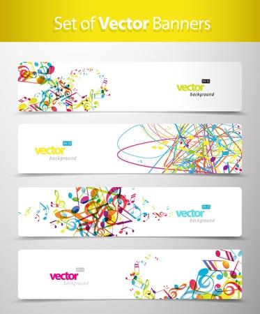 music banner: Set van abstracte kleurrijke web headers.
