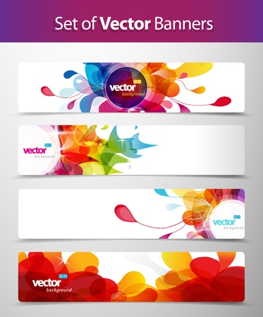 abstract design: Set of abstract colorful web headers.