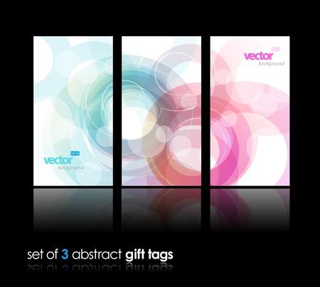 3 separate Geschenkkarten mit Kreisen. Illustration