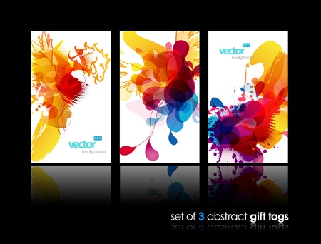 Set of abstract colorful splash gift cards with reflection.  Ilustracja