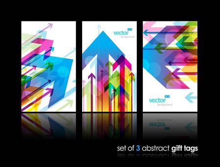 Set von Geschenkkarten mit Pfeilen.