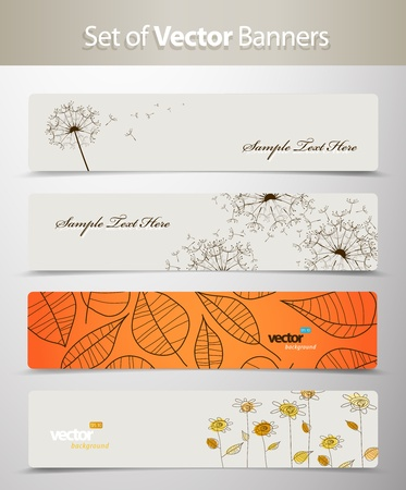 header label: Set of nature web headers. Illustration