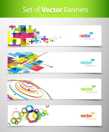 Set of abstract colorful web headers. Stock Vector - 10221698