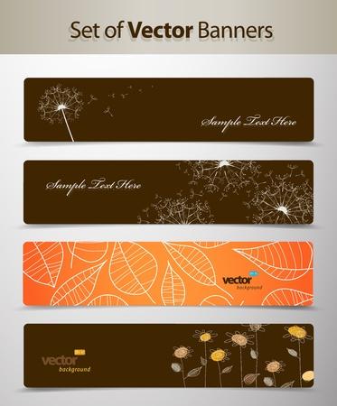 grungy header: Set of nature web headers. Illustration