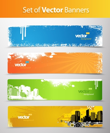 futuristic city: Set of abstract colorful web headers.