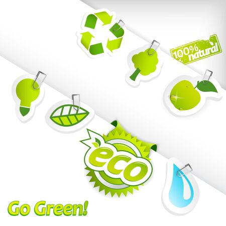 Set of ecology stickers. Vector