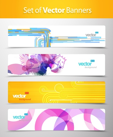 grungy header: Set of abstract colorful web headers.