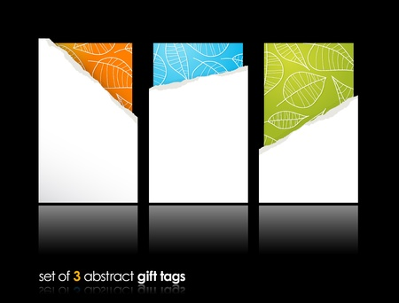 Set of teared gift cards. Vector