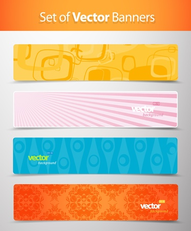 header label: Set of abstract colorful web headers.