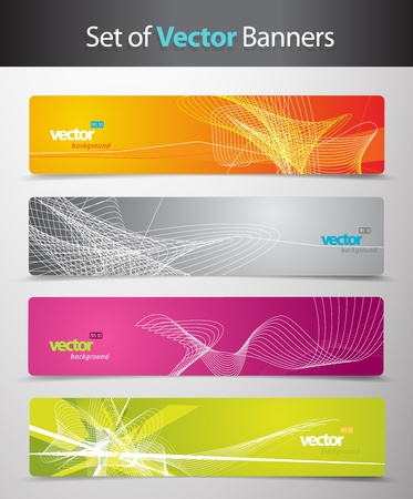 digital art: Set of abstract colorful web headers.