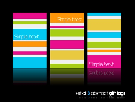 3 separate gift cards with lines. Illustration