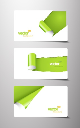 folded paper: Set of gift cards with rolled corners. Illustration