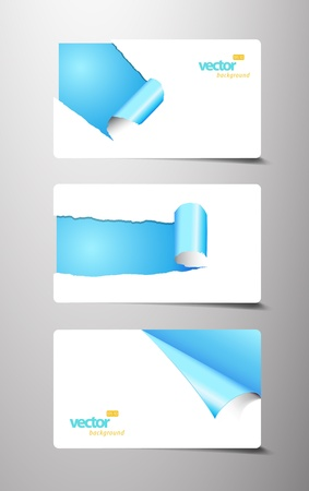 page curl: Set of gift cards with rolled corners. Illustration