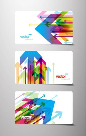 Set of gift cards with arrows. Vector