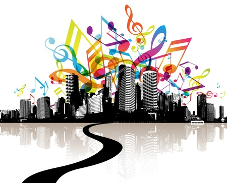 City with colored tunes. Stock Vector - 10587702
