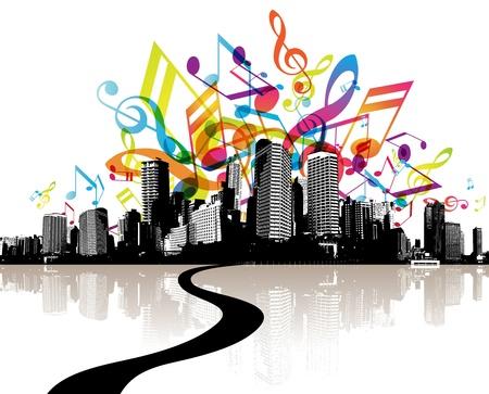 Stadt mit farbigen Melodien. Illustration