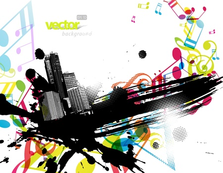 City with colored tunes. Vector