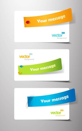 Set of colored ribbons on gift cards.