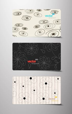 Set of flower pattern gift cards. Vector