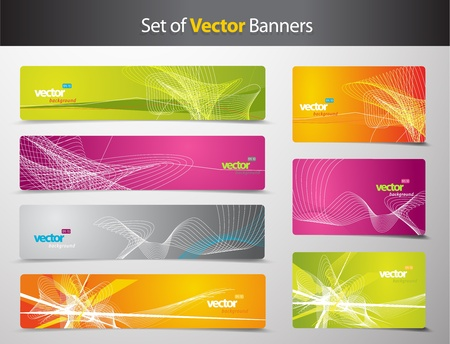grungy header: Set of abstract colorful web headers and gift cards.  Illustration