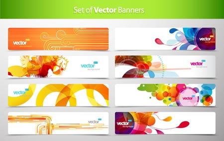 grunge wings: Set di astratto intestazioni web colorati. Vettoriali