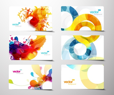 abstraction: Set of abstract colorful splash gift cards.